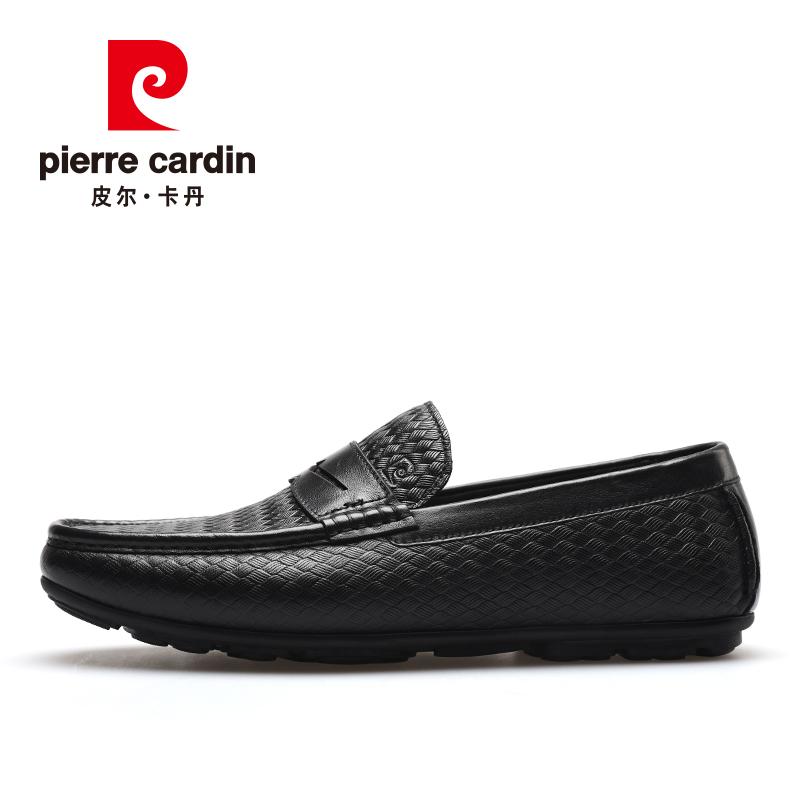 皮尔卡丹男鞋2021新款春季压纹牛皮商务休闲豆豆鞋套脚一脚蹬皮鞋