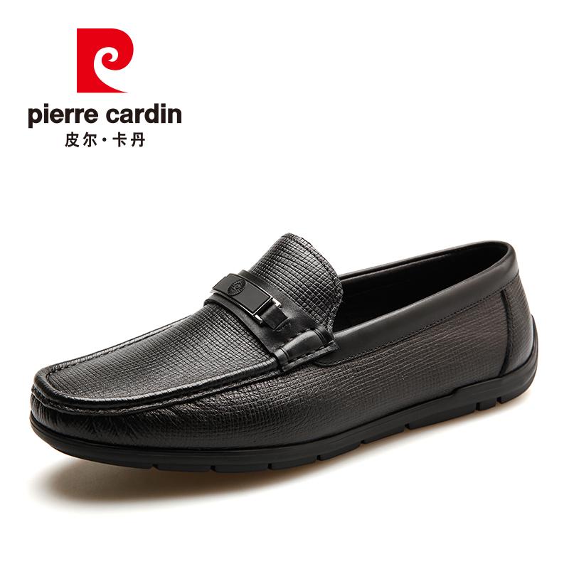 皮尔卡丹真皮拼接商务套脚男鞋舒适轻便柔软鹿皮时尚一脚蹬皮鞋男