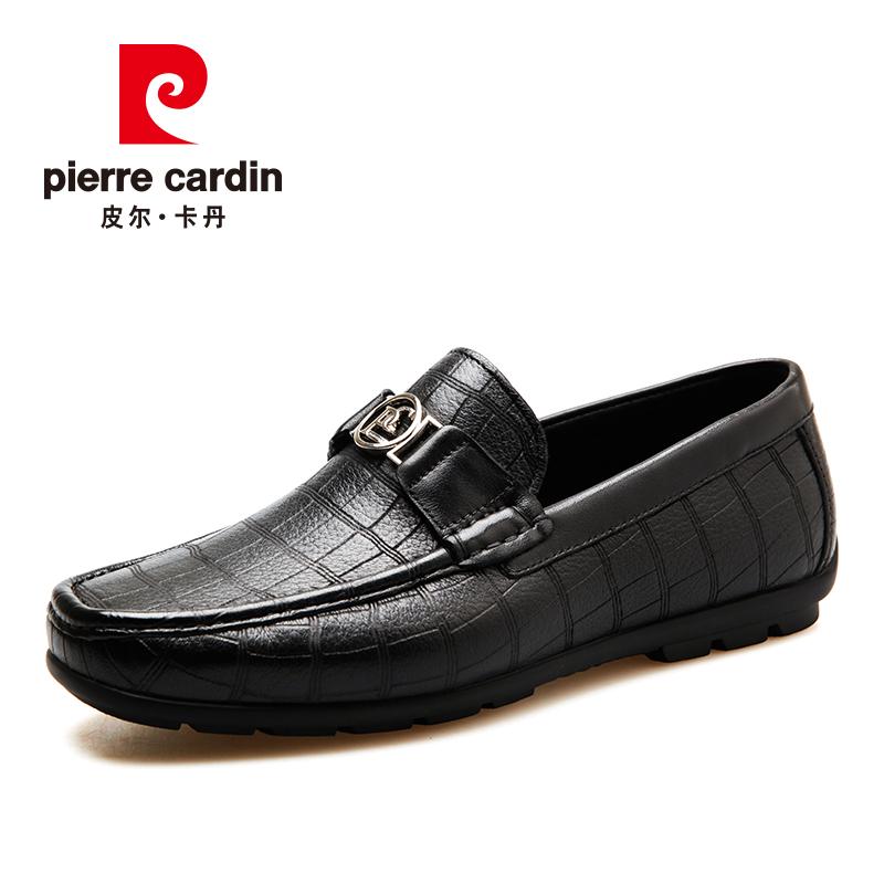 皮尔卡丹商务休闲套脚真皮压花纹男鞋舒适柔软鹿皮拼接牛皮防滑鞋